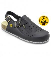 Fussbett-Sandale schwarz, perforiert ESD